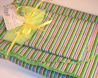 EXTRA LARGE - Kelly and Lime Green Mixed Striped Flannel Receiving Blanket & Burp Cloth Set Or BLANKET Only - Baby Blanket, Swaddle Blanket