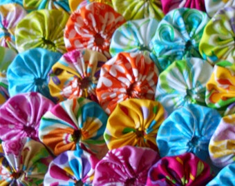30 Bright Tropical  Tiki  Yo Yo 2 Inch Quilt Block Trim Applique Embellishment Hair Clip Barrette