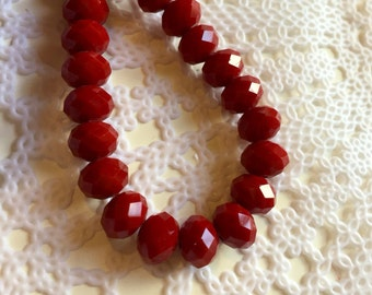 Bead Gallery | Red Glass Rondel beads | Gorgeous beads | Elegant beads | Forty (40) pieces | Ready to ship!