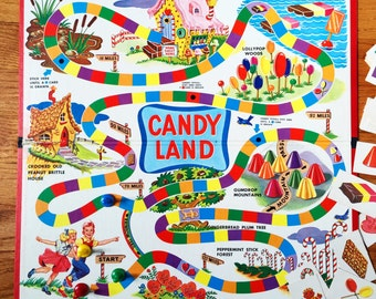 Vintage 1960s Childrens Board Game / Milton Bradley Candy Land Game 1962 Complete / A Sweet Little Game for Sweet Little Folks