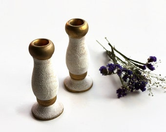 Candlestick Clay Candle Holder, Set of 2, Table Top Ornament Rustic, Cottage Chic, Home Decor Vintage, Eartware, Gold, White