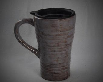 Purple Ceramic Travel Mug with a lid
