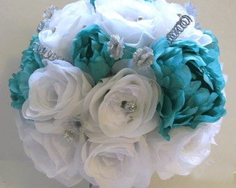 "Wedding flowers silk Bridal bouquet 17 piece Package Aqua Blue SILVER GRAY Artificial arrangements bouquets decorations  ""RosesandDreams"""