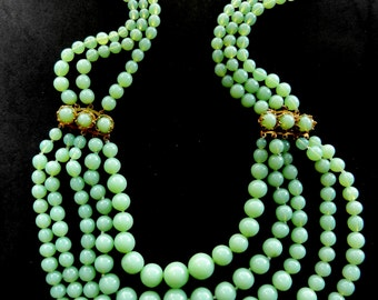 Lovely  simulated Chrysoprase Venetian glass beads Necklace - multi-strand  bib style amazing color & translucent luster - art.473/4 -
