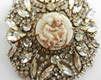Gorgeous large clear rhinestones Czechs mystical brooch - Bohemia crystals & glass  cameo of Saint Anthony image - art.525/4-
