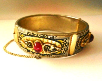 Victorian Bangle Bracelets Black Enamel & Antique gold - lovely work with  jelly red  cabochons and foliage ornate - Art.252/4 -