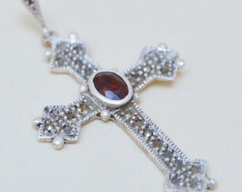 Sterling Religious Garnet Cross . Marcasite Stones . As-Is