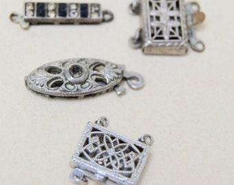 4 Antique Sterling Filigree Slide Clasps . Necklace . Bracelet . Clasps
