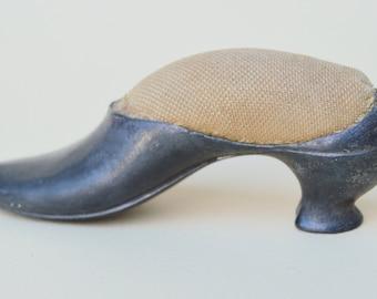 Antique Pot Metal Shoe Pin Cushion . Unique Metal . Victorian Metal Shoe Pincushion