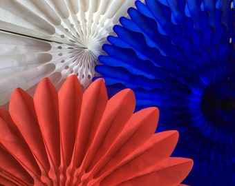 4th of July Mix Honeycomb Fans, Tissue Paper Fans, Patriotic Honeycomb Decorations - Dark Blue, Red and White (3 fans)