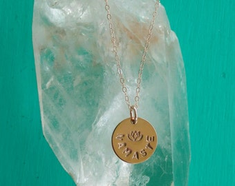 PURE LOVE Namaste, Yoga Jewelry with Lotus, NAMASTE Necklace in Rose Gold-Filled, Lotus Flower Necklace, Yoga Jewelry (#047)