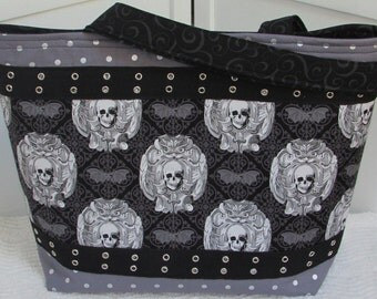 Gothic Skulls and Bats Skull Large Tote Bag , Freak Out Skulls Purse , Edgy Goth Alternative Fashion Shoulder bag Ready To Ship