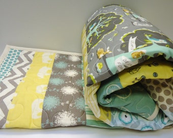Baby Quilt-Woodland Party-Modern Crib Bedding-Aqua-Gray-Grey-Yellow-Gender Neutral-Animals Baby Blanket