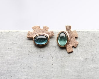 Mismatched Stud Earrings 14K Rose Gold Blue-Green Tourmaline Unique Tribal Textured Abstract Wing Halo Gift October Birthday - Aztec Wings