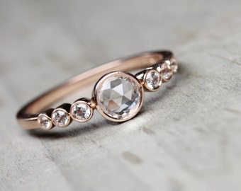 Delicate Rose-Cut Sapphire Engagement Ring 14K Rose Gold Multi-Stone Romantic Elegant Sparkle Seven Gem Bridal Pink White - Brilliant Bridge
