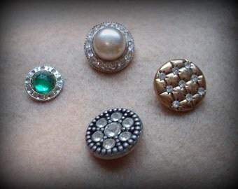 Four Plastic Vintage Rhinestone Buttons