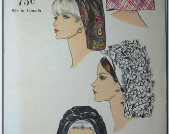 Vogue 6805 - 1960s Vintage Scarf Style Hat Pattern - Factory Folded- One Size