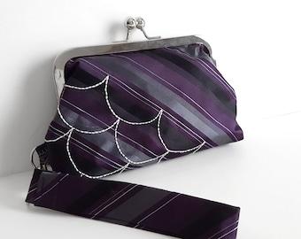 Necktie Clutch Necktie Wristlet Necktie Purse Striped Clutch Purple Stripe Clutch Embriodered Clutch Stripe Wristlet Purple Necktie Clutch