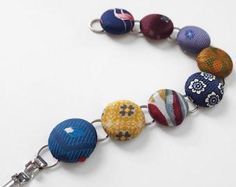 Necktie Button Bracelet Multicolor Bracelet Fabric Covered Button Bracelet Blue Button Bracelet Reclaimed Necktie Bracelet Flamingo Button