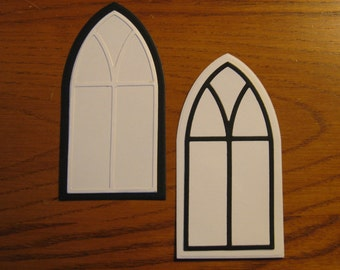 4 Gothic Cathedral Window Die Cuts: White Black Assorted Choose Colors Stamping supplies card