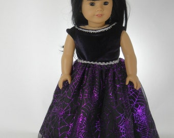 18 inch doll clothes made to fit dolls such as American Girl®, Purple Spider Web Halloween Dress, 09-1330