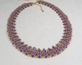 Woven Super Duo Necklace Purple and Gold
