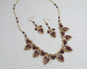 Woven Necklace and Earrings Set Heart Petals in Garnet and Gold
