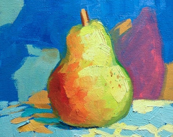 Pear painting 8x8