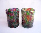 Hand  Blown Glass Tumblers,Art Glass, Multicolored, Set of Two.