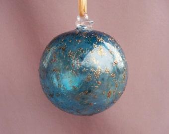 Hand Blown Art Glass Christmas Ornament/Ball/Suncatcher,  Aqua and Gold Color
