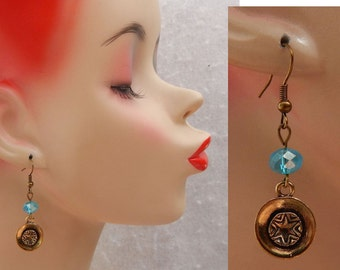 Blue & Gold Star Charm Drop/Dangle Charm Earrings Handmade Jewelry Hook NEW Accessories