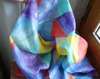 Clearance SALE - Silk Habotai Harlequin Triangles - Hand Painted Silk Scarf - bright rainbow of colours