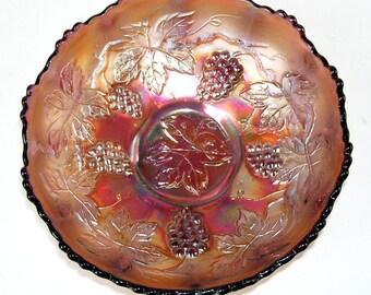 Fenton  Purple and Marigold Carnival Glass Bowl, Fancy Fenton Bowl, Antique Fenton Bowl, Vintage Fenton Grape Vines Bowl, Glass Ware