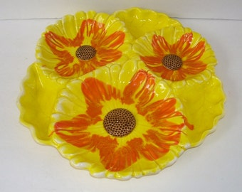Mid Century Santa Anita California Sunflower Tidbit, Chip and Dip Modern Yellow and Orange Pottery Serving Dish, California Pottery