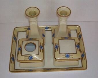 Antique Art Deco 7 Piece Porcelain Vanity Set, Limoges France ,Candle Holders, Hair Reciever, Art Deco Trinket Box, Art Deco Tray, Matching