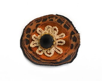 Lapel Pin, scarf pin, hat pin, fabric flower pin, animal print brooch, fiber art corsage, OOAK