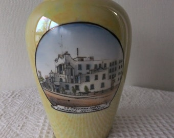 RESERVED for PhotoWeights Vintage La Caverna Hotel Carlsbad, New Mexico Vase Iridescent Yellow with Hotel Picture Southwest Travel