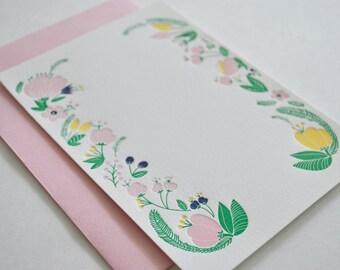 Floral Letterpress Stationery Set