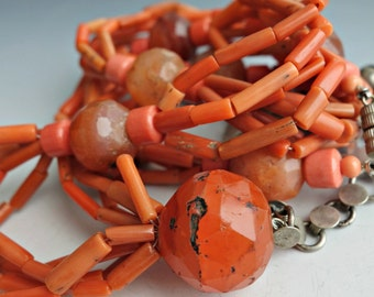 Tribal Coral Carnelian Silver Necklace