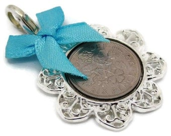 Lucky English Sixpence Coin Charm with Lobster Clasp. Queen Elizabeth II. Pick Your Own Year from 1954 to 1967 and Blue, Pink or Ivory Bow.