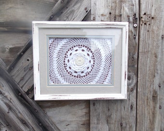 Jean d' arc Decor Vintage Lace Collage Decorative White Frame With Vintage Button and Crochet Linen Original Art Recycled