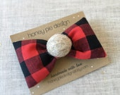 Girly Lumberjack Bow with Felt Ball - Christmas Hair Clip - Buffalo Check - Plaid Bow - Holiday Fashion - Winter Accessory - Girls Hair Clip