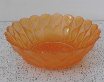 1960s vintage glass bowl in orange