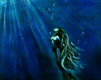 Into The Light mermaid - mermaid art, mermaid print, mermaid decor, blue decor, mermaid card, mermaid poster, fantasy art,