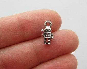 BULK 50 Robot charms antique silver tone P397