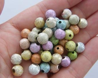 50 Moon dust beads 8mm  random mixed B48