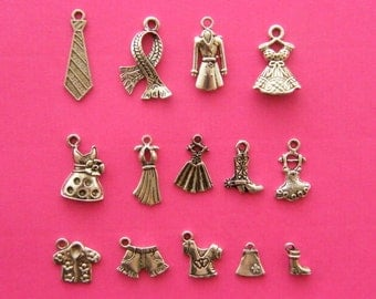 The Ultimate Clothes Collection - 14 different antique silver tone charms
