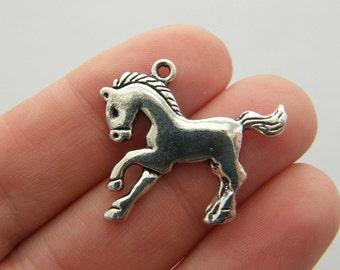 6 Horse charms antique silver tone A608