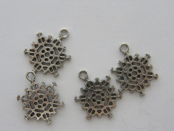 bulk 50 snowflake charms antique silver tone sf55 from