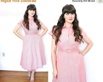 ON SALE 1940s Dress / 40s Dress / 1940s Red Cotton Day Dress